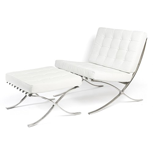 ModStone - Barcelona Pavilion Lounge Reception Love Seat Chair and Ottoman White Top Grain Leather by Mies Ven Der Rohe
