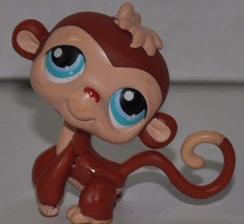 Monkey #304 (Brown, Blue Eyes, Painted Tail tip and tuft, Red nose) Littlest Pet Shop (Retired) Collector Toy - LPS Collectible Replacement Single Figure - Loose (OOP Out of Package & Print) (Big Monkey Eyes)