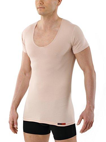 ALBERT KREUZ Mens Invisible deep v-Neck Business Undershirt with Short Sleeves Stretch Cotton Nude Beige
