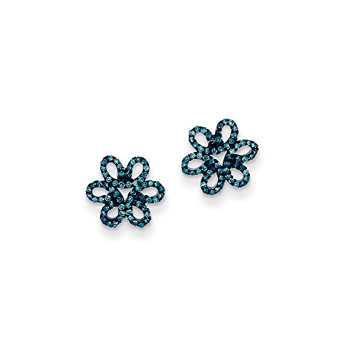 10 Mm Open Diamond (Blue Diamond 10mm Open Flower Post Earrings in Sterling Silver)