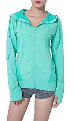 SlendShaper Women's Casual Full Zip Basic Hoodie with Thumb Hole, Active Sweatshirt Jacket with Front Pocket for Women