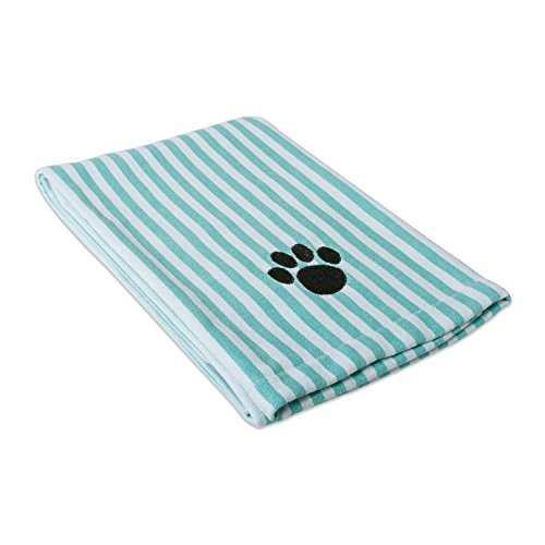 DII Bone Dry Microfiber Pet Bath Towel with Embroidered Paw Print, 44x27.5