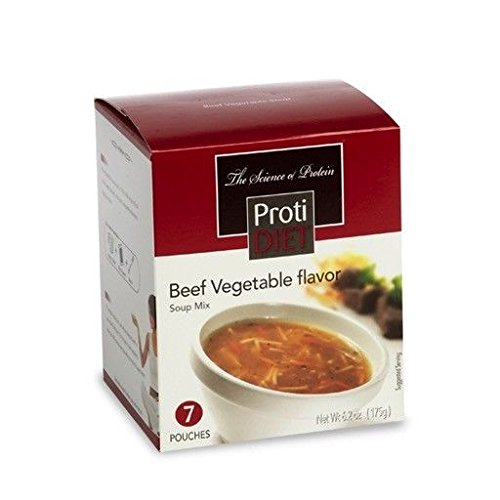 ProtiDiet Beef Vegetable Soup Mix (7 pouches of 0.882 oz, net 6.2 oz) - High Protein Beef Flavored Vegetable Soup