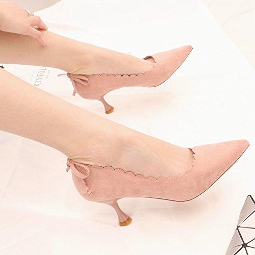 con e alto scarpa KPHY fine spring nbsp;rosa dolce sola a nbsp;pizzo alla una scarpe punta 35 luce papillon tacco 6 5 qfwYZOq