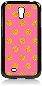 Gold Polka Dots on Pink- Case for the Samsung Galaxy S4 i9500- Hard Black Plastic Snap On Case