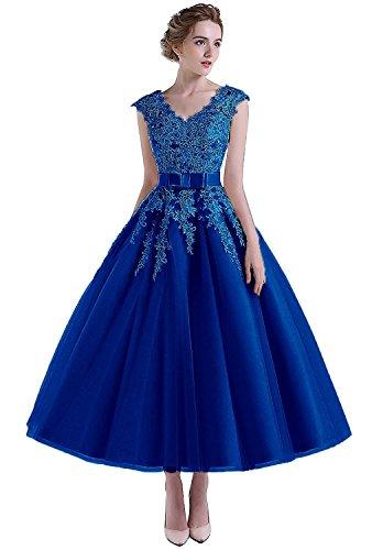 Senza Reale Vestito Maniche Carnivalprom Blu Triangolo Donna qHYxE
