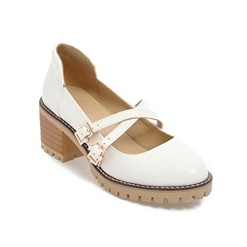 Comodidad para el tamaño del código con tacón alto de Taiwán hembra boca superficial impermeable zapatos Zapatos único Meterwhite