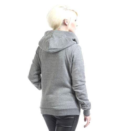 Babyonlinedress Sudadera de mujer cuello alto capuchado como bufanda manga larga estilo sport ajustado gris
