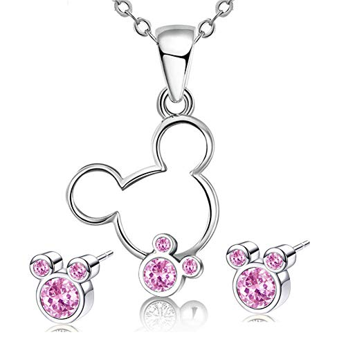S925 Sterling Silver Necklace Stud Earrings Set Mouse Shape Jewelry Set with Cubic Zirconia for Women Girls Gifts (Pink)