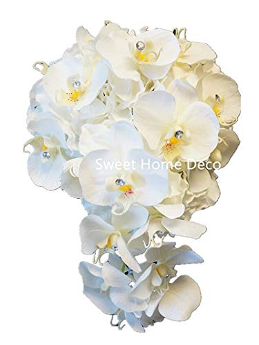 Sweet Home Deco Gel Coated Real Touch Phanaenopsis Orchid Hydrangea Diamond Wedding Bouquet Package Bridal Bouquet Bridesmaid Bouquet Boutonniere (White/Black-Cascading Bridal Bouquet) (Boutonniere Orchid White)
