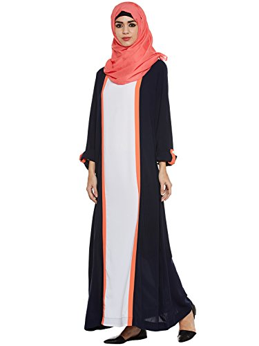 Momin Libas Nevy Blue And Coral Colour Polyester Stitched Burqas without Hijab