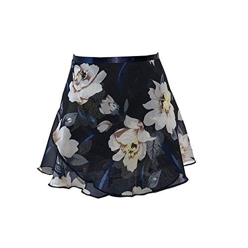 Limiles Girls Chiffon Wrap Ballet Skirt Dance Skate Over Scarf S M L Size (Floral 14, S) (Skirt Wrap Adult)