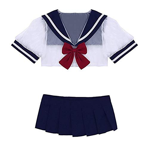YINUO1 4pcs/Set Schoolgirl Costume Sexy Lingerie Set Cosplay Student Butterfly Uniform Costumes Outfit with Stockings ()