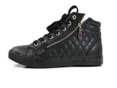 Forever Desire Quilted High Top Fashion Sneakers With Zipper Flat, Black, 5