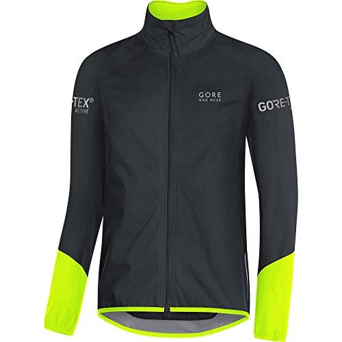 Gore Bike WEAR Men's Cycling Jacket, Gore-TEX Active, Power Jacket, Size: L, Black/Neon Yellow, JGTPOW