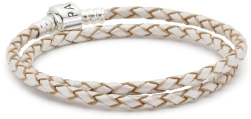 Pandora Double Woven Champagne Leather And Silver Starter Bracelet In 925 Sterling Silver, (Sterling Silver Starter Bracelet)