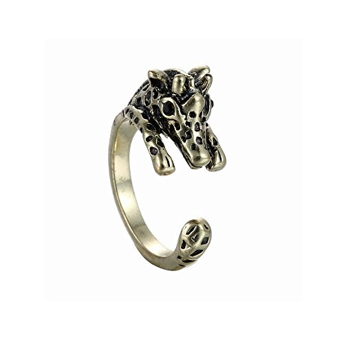 Winter's Secret Creative Alloy Opening Animal 3D Giraffe Restoring Unisex Ancient Bronze Ring (Grooved Ring Seat)
