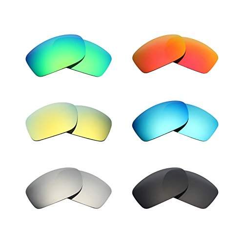 Mryok 6 Pair Polarized Replacement Lenses for Oakley Fives Squared Sunglass - Stealth Black/Fire Red/Ice Blue/Silver Titanium/Emerald Green/24K Gold by Mryok