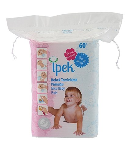 Ipek maxi baby pads large 100% cotton total 360 count in 6 packs squares cotton pad squares for baby care pads Baby Square
