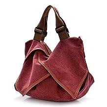 Naladoo Women's Leather Canvas Wet Handbag Cross Body Multi-Purpose Large Bag