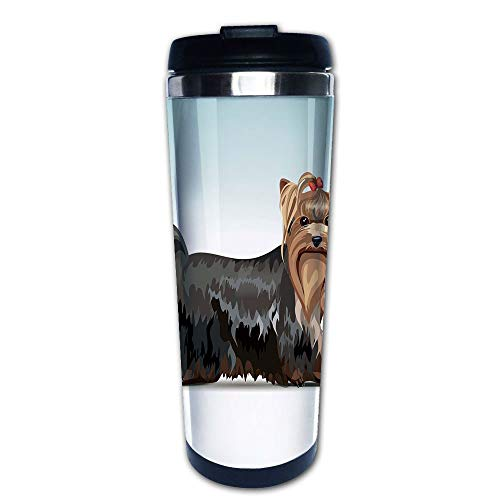 Stainless Steel Insulated Coffee Travel Mug,Yorkshire Terrier with a Bow on Head Meshed Colors,Spill Proof Flip Lid Insulated Coffee cup Keeps Hot or Cold 13.6oz(400 ml) Customizable printing ()