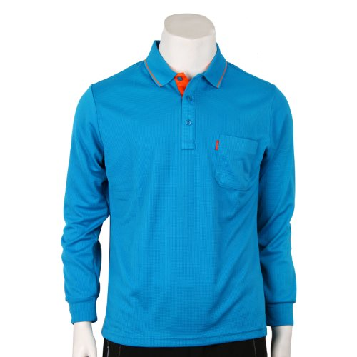 BCPOLO Herren Classic Poloshirt Langarm. Blau