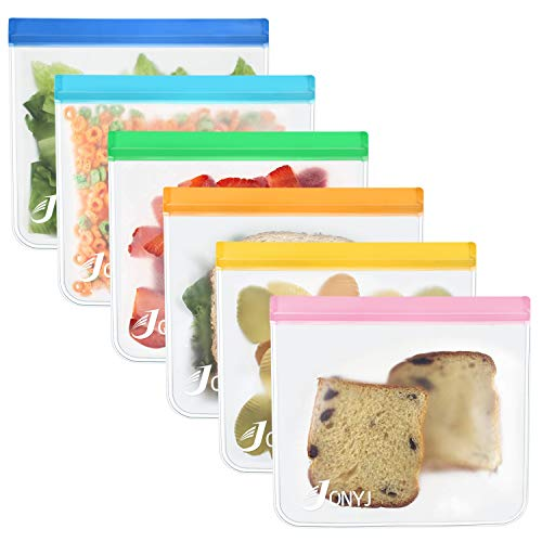 Reusable Sandwich Bags 6-Pack, JONYJ Leakproof Reusable Lunch Storage Bags, FDA Grade PEVA Kids Snack Bags, Extra Thick Ziplock Bags for Food Snacks, Make-up, Stationery, Travel Home - Storage Dishwasher