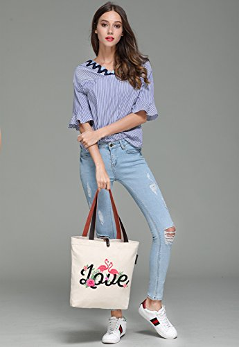 So'each Women's Love Flamingo Graphic Canvas Handbag Tote Shoulder Bag