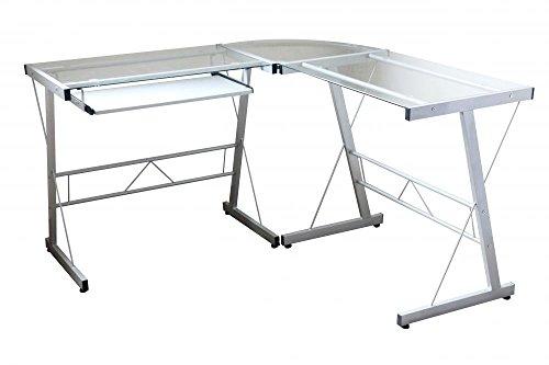 L-Shape Corner Computer Desk Glass Laptop Table Workstation Home - Different Glasses Shapes