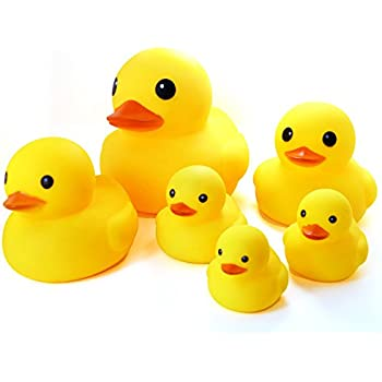 Amazon rubber duck family bath set set of 4 floating bath novelty place float squeak six rubber duck family pack ducky baby bath toy for kids pack of 6 solutioingenieria Choice Image