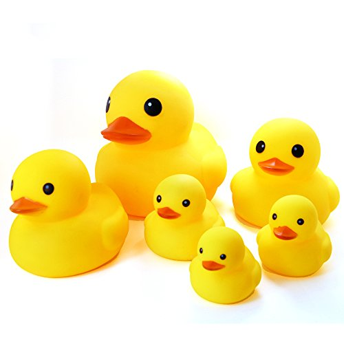 Novelty Place Float & Squeak Six Rubber Duck Family Pack Ducky Baby Bath Toy for Kids (Pack of 6)