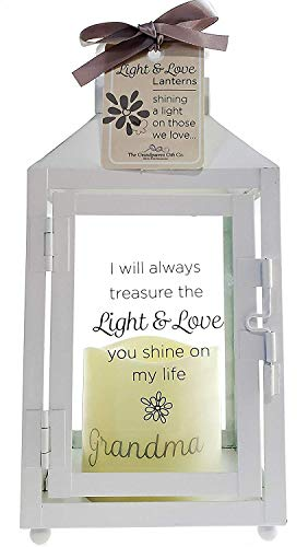 Grandparent Gift Company Light and Love Grandmother Gift - White Metal Lantern - 3