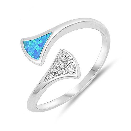 Open Adjustable Fan Shape Ends Ring Lab Created Opal 925 Sterling Silver Jewelry Size 6 -BO