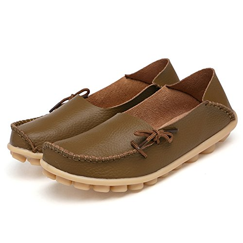 SCIEU Women's Lace Up Leather Loafers Casual Slip-On Driving Moccasins Flats Shoes Khaki slAonW