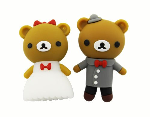 Trust&buy Cute Cartoon Wedding Bear USB Flash Drive Data Traveler Novelty Gift - 16GB