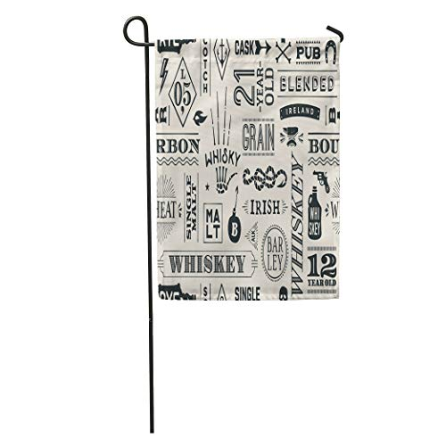Semtomn Garden Flag Types of Whiskey and Lettering for Bar Pub Cafe Fest Home Yard Decor Barnner Outdoor Stand 12x18 Inches Flag ()
