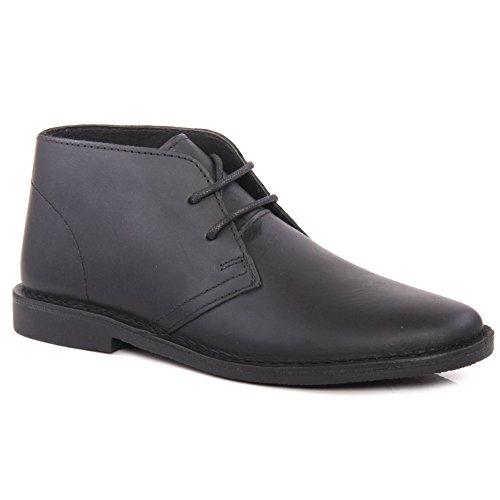 Unze Joha Herren leder desert boots - MK011071 Schwarz