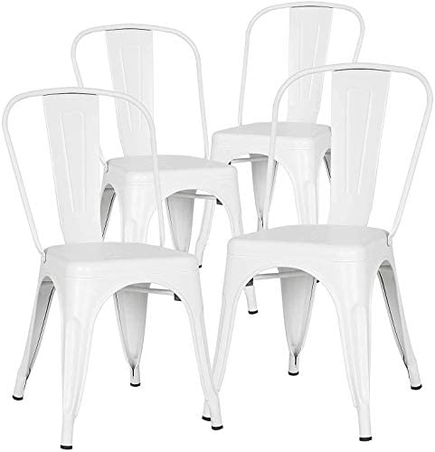 Modern Mid-Century Dining Kitchen Metal Side Arm Chair Copper Bronze Rustic Distressed Dining Bistro Cafe Stackable Side Chair Set of 4 1white