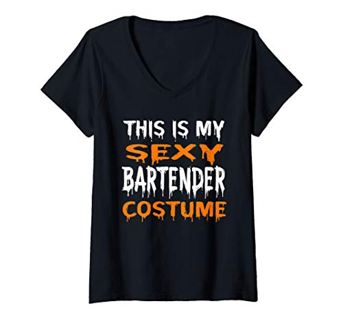 Womens This Is My Sexy Bartender Costume Lazy Halloween V-Neck T-Shirt