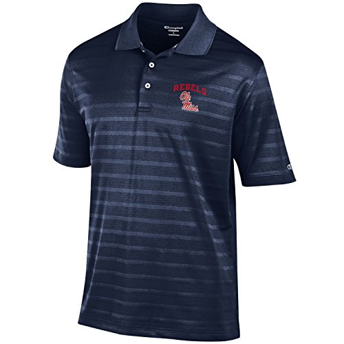 NCAA Champion Men's Textured Solid Polo, Ole Miss Rebels, Large