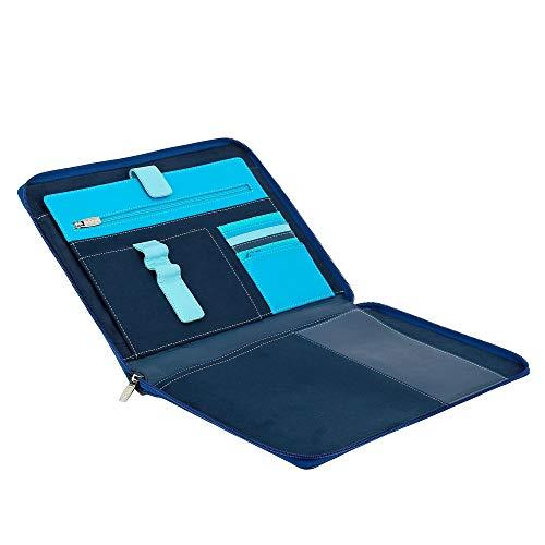 Alloggio DUDU Nappa Cartella Blu Portadocumenti con con Organizer Pelle Tablet Cerniera Zip A4 in Portablocco a wxOFqp0rwB