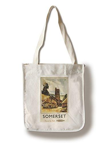 (Lantern Press Somerset, England - Historic Village Scene British Railway - Vintage Advertisement (100% Cotton Tote Bag - Reusable))