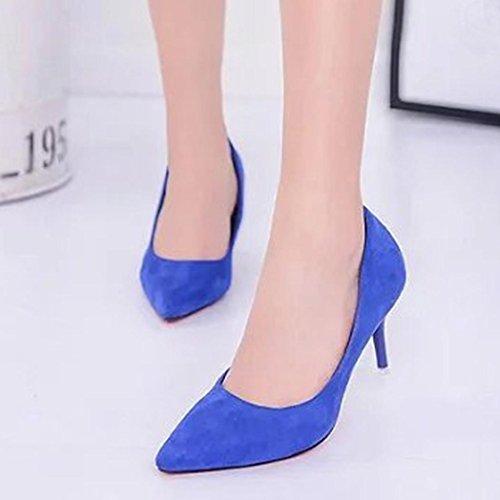 Upxiang Damen High Heels Schuh, Frauen Nude Flacher Mund Spitz Kopf High Heels Schuh (High-8cm) Mode Elegant Office Arbeit High Heels Schuhe Blau