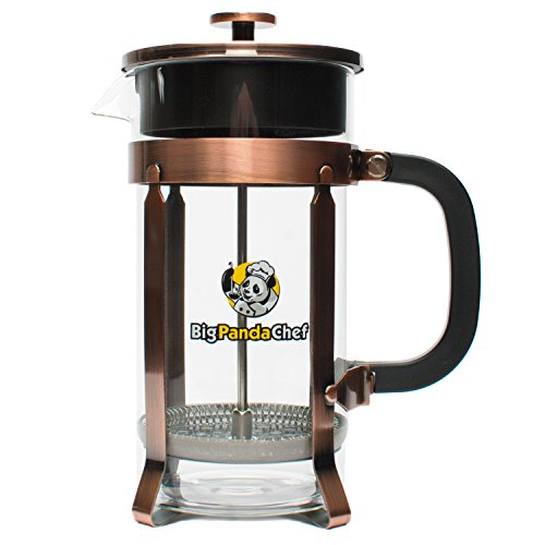 French Press Coffee & Tea Maker Kit | 34 oz 8 cup | Unique Copper Design, Heat Resistant Double Glass with Stainless Steel Pot | Set Includes 4 Filters and Measuring Spoon by Big Panda Chef