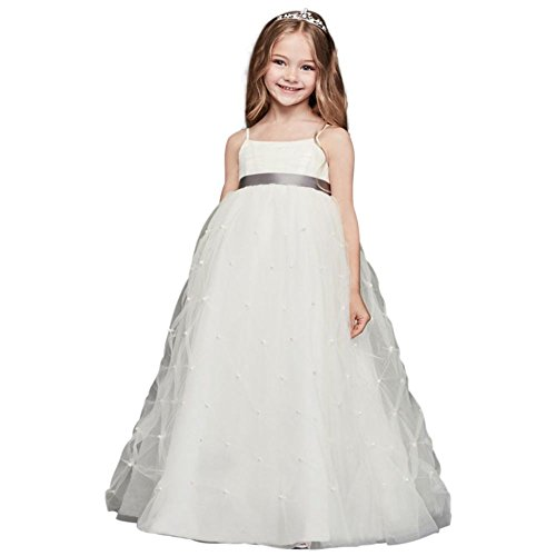 David's Bridal Tulle Flower Girl/Communion Dress With Pearl Pick-UPS Style WG1369, Soft. by David's Bridal