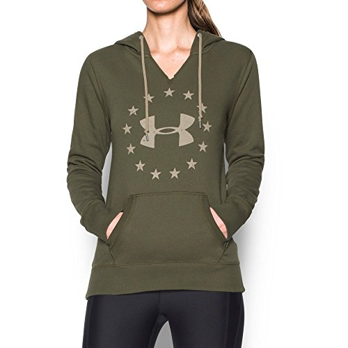 Under Armour Women's Freedom Logo Favorite Fleece Hoodie, Marine Od Green (390)/Desert Sand, X-Small
