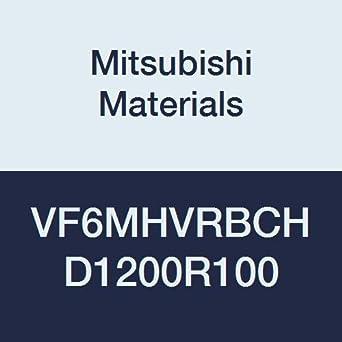 Mitsubishi Materials VF6MHVRBCHD1200R100 VF6MHVRBCH Carbide Impact Miracle 6 Flute End Mill 26 mm LOC 1 mm Corner Radius Shape 12 mm Cut Dia Medium Irregular Helix Flutes with Coolant Hole