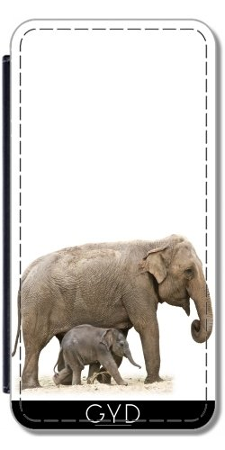 Leder Flip Case Tasche Hülle für Apple Iphone 7 Plus / 8 Plus - Elefant Afrika Tier Säugetier by Grab My Art