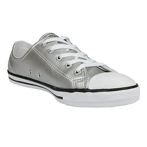 Converse Womens Chuck Taylor All Star Dainty Ox Fashion Sneaker Shoe, Metallic Leather Silver/Black/White, 7