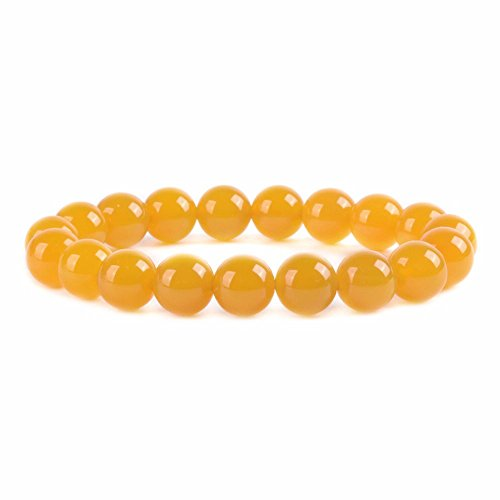(Yellow Agate Gemstone 10mm Round Beads Stretch Bracelet 7